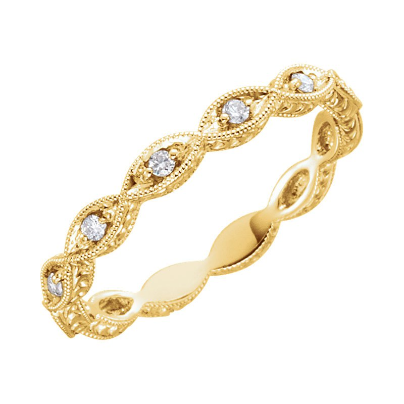 Signature Collection 14k Yellow Gold Stackable Round Brilliant Diamond Band