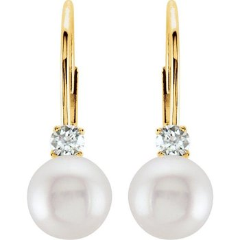14k Yellow Gold Leverback Akoya Pearl & Diamond Earrings