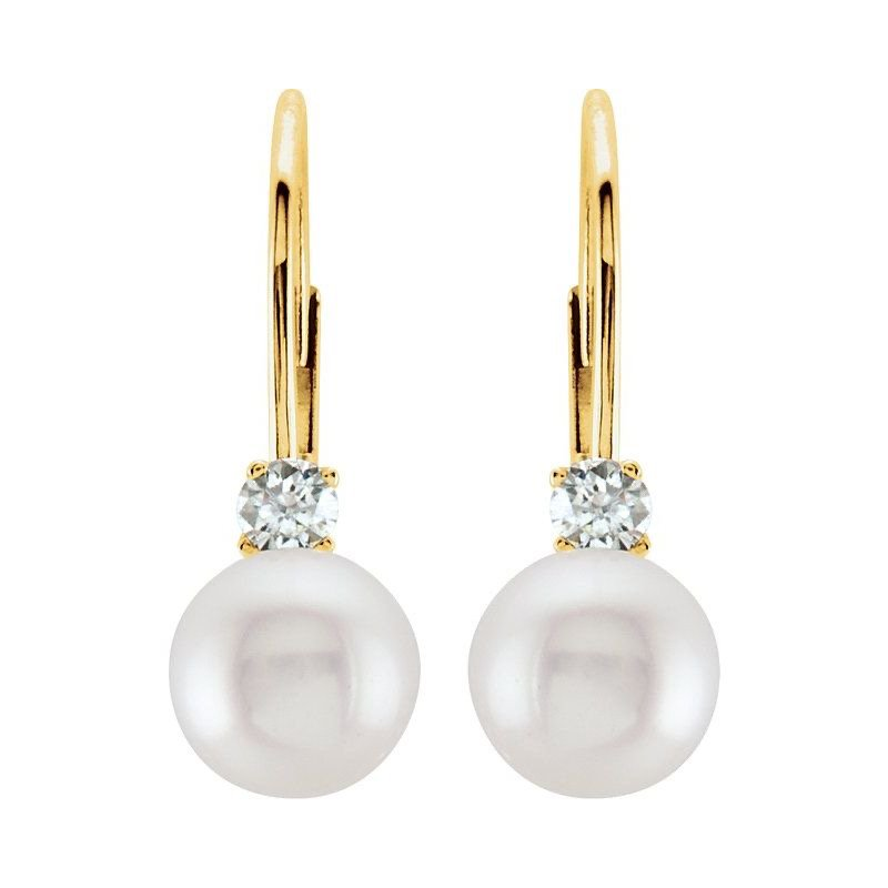Signature Collection 14k Yellow Gold Leverback Akoya Pearl & Diamond Earrings