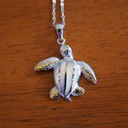 Kovel Sealife Sterling Silver and Gold Plate Turtle Pendant with White Mother of Pearl