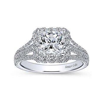 18k White Gold Princess Halo Triple Band Engagement Ring