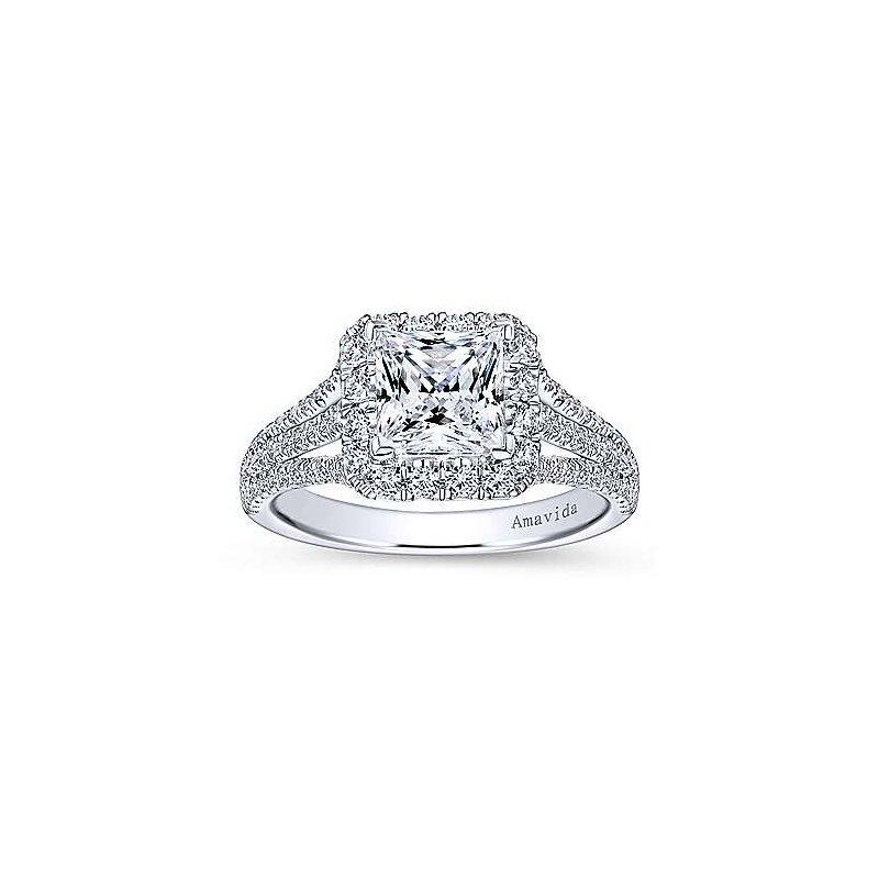 Gabriel NY 18k White Gold Princess Halo Triple Band Engagement Ring