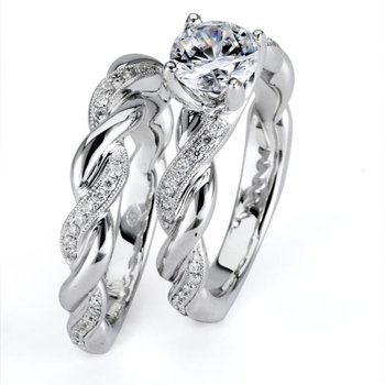 3/4 ct Center 14k White Gold Round Brilliant Diamond Engagement Ring and Matching Wedding Band - P12_008_L