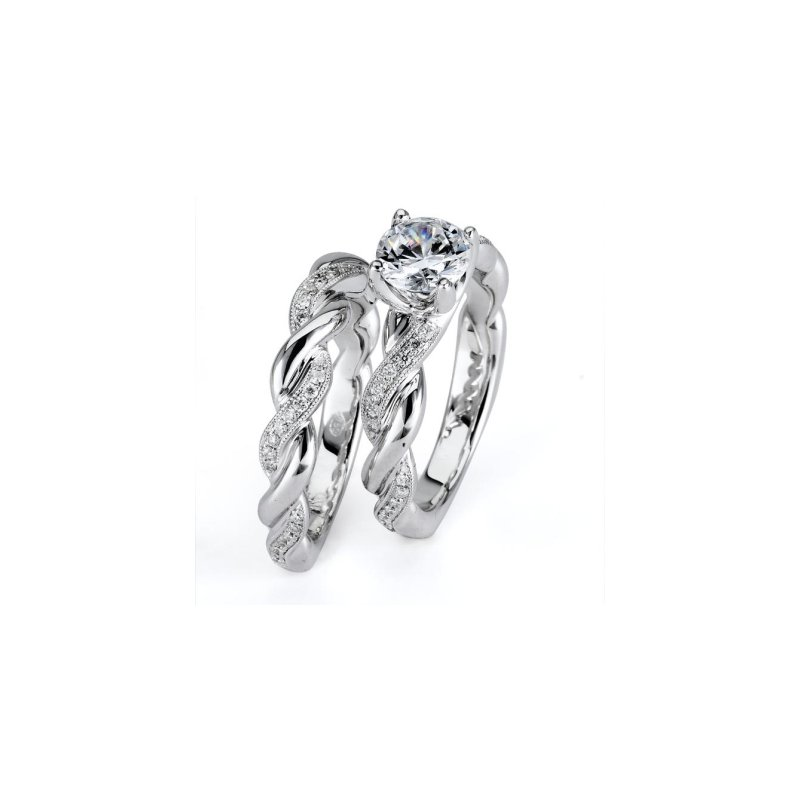 Signature Collection 3/4 ct Center 14k White Gold Round Brilliant Diamond Engagement Ring and Matching Wedding Band - P12_008_L