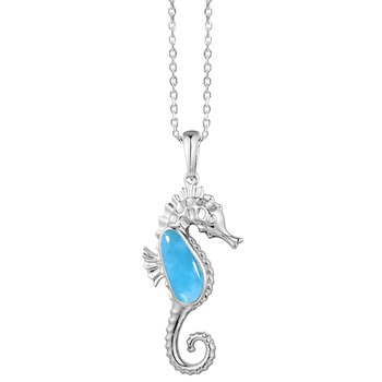 Sterling Silver Seahorse Pendant with Larimar