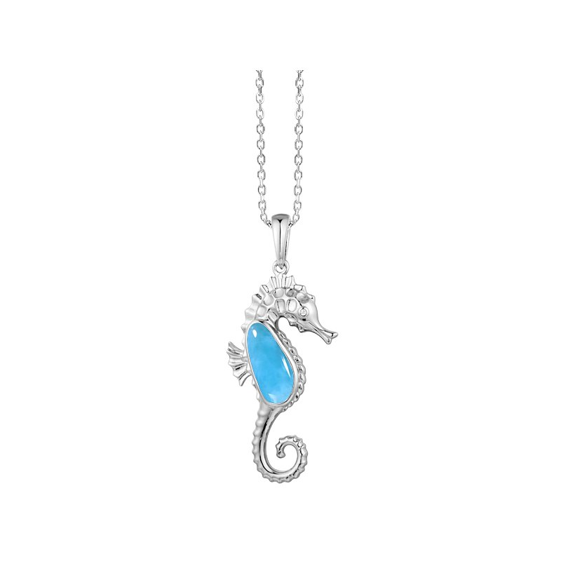 Sealife Jewelry Sterling Silver Seahorse Pendant with Larimar