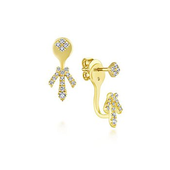 14k Yellow Gold Peek a Boo Square Stud Delicate Diamond Fan Earrings by Gabriel NY - Style #EG13425Y
