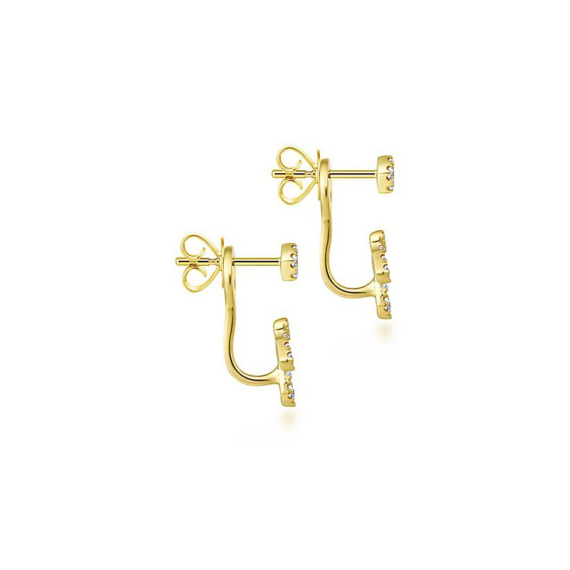 Signature Collection 14k Yellow Gold Peek a Boo Square Stud Delicate Diamond Fan Earrings by Gabriel NY - Style #EG13425Y