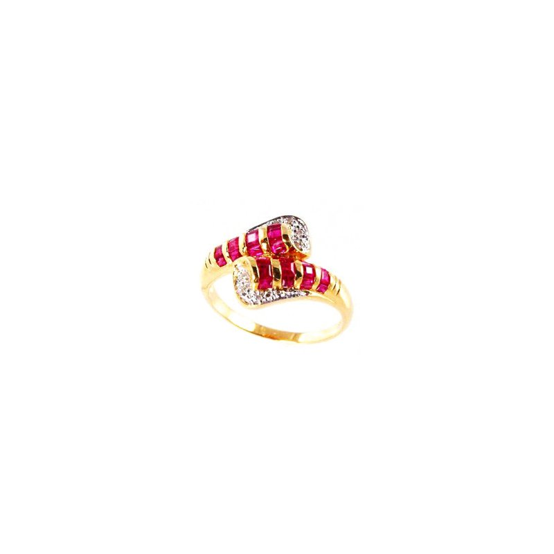 Signature Collection Genuine Ruby and Diamond Ring in 18k Yellow Gold