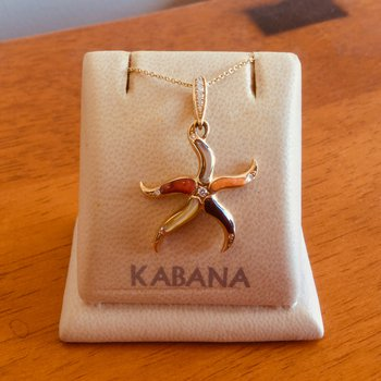 14k Yellow Gold Starfish Pendant with Multi Mother of Pearl & Diamonds