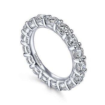 14k White Gold 3.3ct Round Diamond Eternity Ring by Gabriel NY