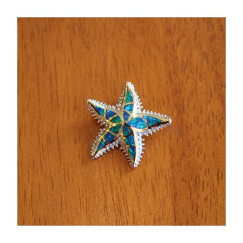 Sterling Silver and 18k Gold Plate Starfish Pendant with Kyocera Lab Created Synthetic Opal