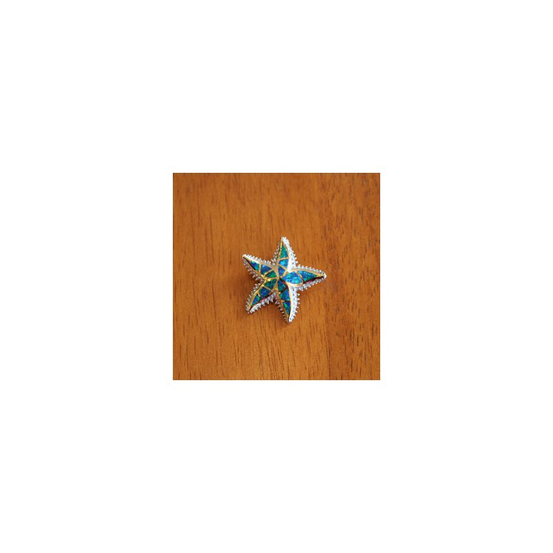 Kovel Sealife Sterling Silver and 18k Gold Plate Starfish Pendant with Kyocera Lab Created Synthetic Opal