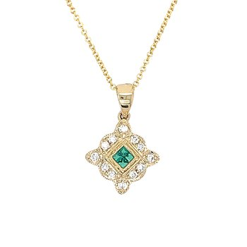 14k Yellow Gold Vintage Inspired Emerald and Diamond Pendant