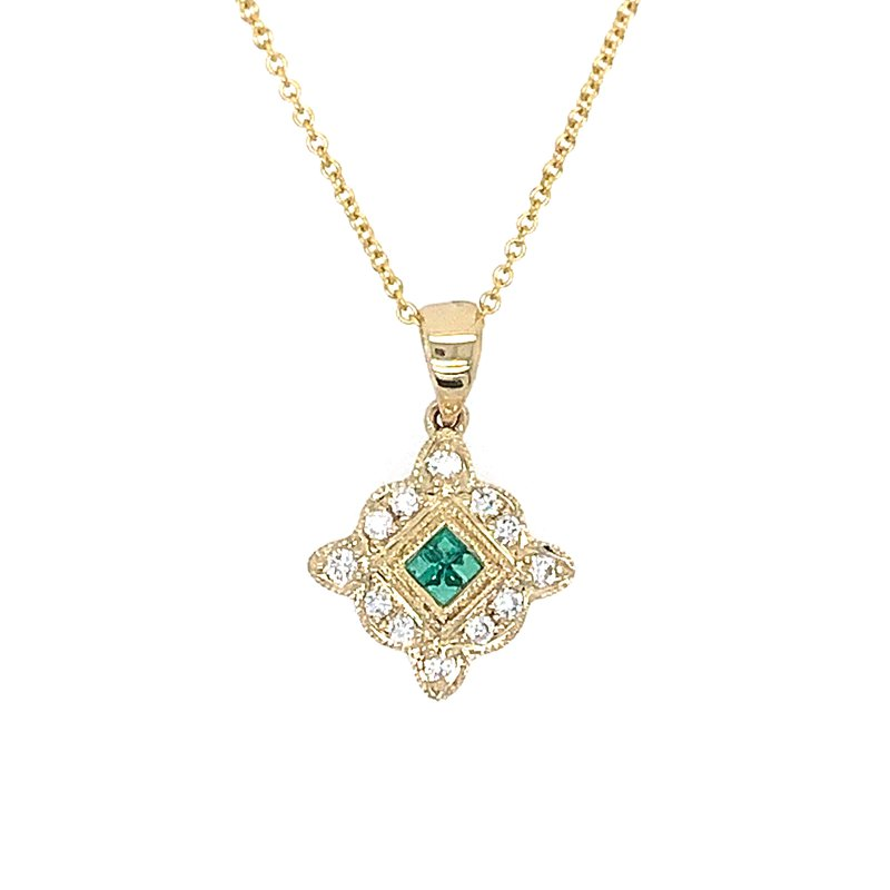 Signature Collection 14k Yellow Gold Vintage Inspired Emerald and Diamond Pendant