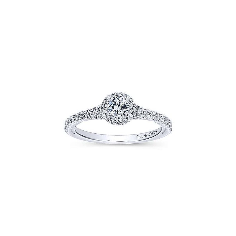 Gabriel NY Adore Collection 14k White Gold Coney Round Halo Engagement Ring by Gabriel NY