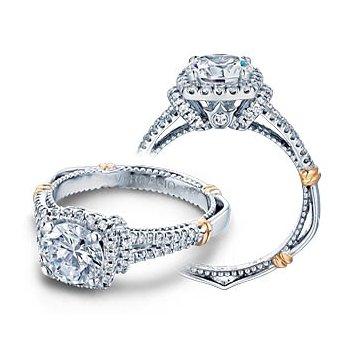 Verragio Parisian D-117CU - 14k White and Rose Gold Diamond Halo Engagement Ring by Verragio