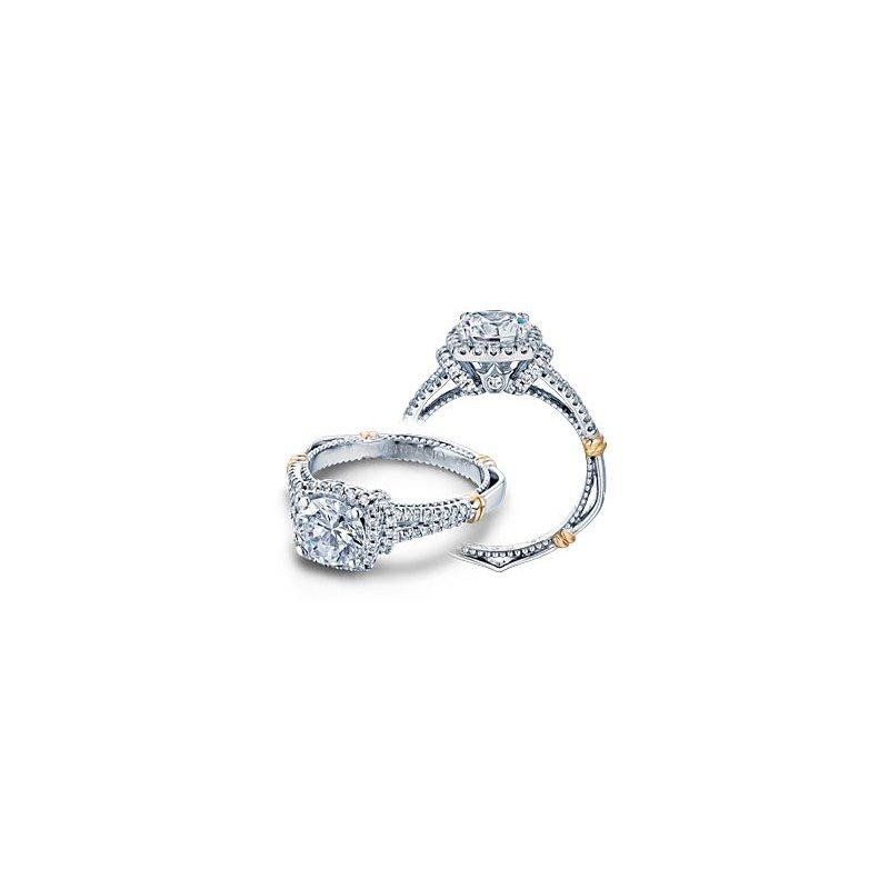 Verragio Verragio Parisian D-117CU - 14k White and Rose Gold Diamond Halo Engagement Ring by Verragio