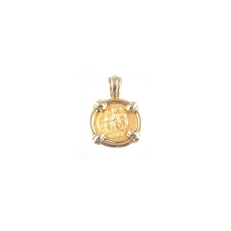 Coin Jewelry Genuine Ancient Greek Thrace Koson Gold Stater framed in 18k Yellow Gold