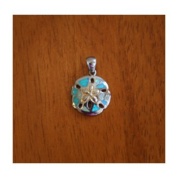 Sterling Silver and 18k Gold Plate Sand dollar with Kyocera Lab Created Synthetic Opal.