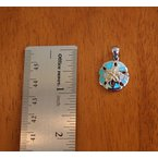 Kovel Sealife Sterling Silver and 18k Gold Plate Sand dollar with Kyocera Lab Created Synthetic Opal.