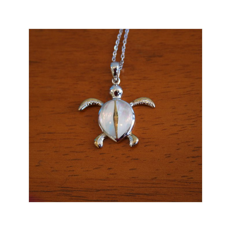 Kovel Sealife Sterling Silver and 18k Gold Plated Turtle with White Mother of Pearl