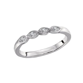 14k White Gold Baguette 4-Stone Diamond Wedding Ring