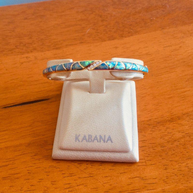 Kabana Jewelry Kabana 14k Yellow Gold Australian Opal Inlay and Diamond Bangle Bracelet