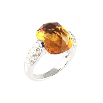 Genuine Checkerboard Citrine & Diamond Ring in 18k White Gold