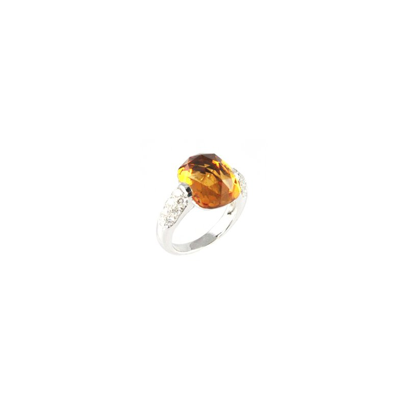 Signature Collection Genuine Checkerboard Citrine & Diamond Ring in 18k White Gold