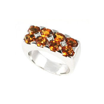 Genuine Citrine & Diamond Ring in 18k White Gold