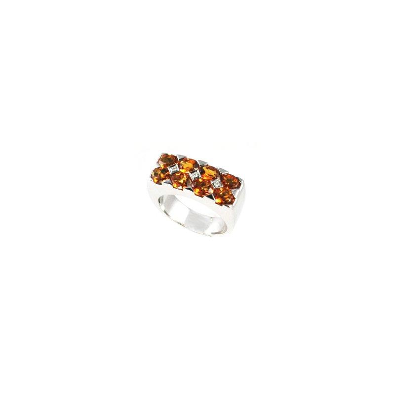 Signature Collection Genuine Citrine & Diamond Ring in 18k White Gold