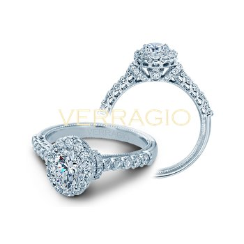 Verragio Classic V-908 - OV - 14k White Gold Oval Halo Diamond Engagement Ring by Verragio