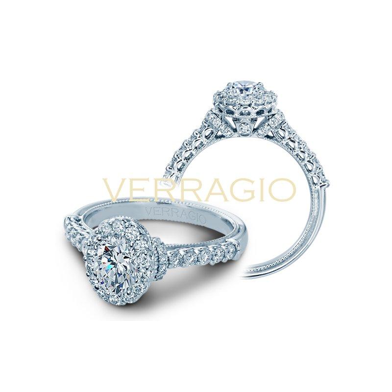 Verragio Verragio Classic V-908 - OV - 14k White Gold Oval Halo Diamond Engagement Ring by Verragio
