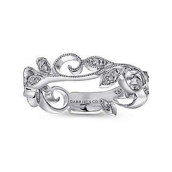 14k White Gold Scrolling Floral Diamond Ring by Gabriel NY