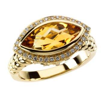 Genuine Checkerboard Citrine & Diamond Ring