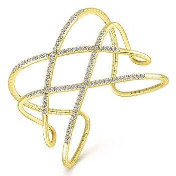 14k Yellow Gold 2ctw Demure Diamond Bangle Bracelet by Gabriel NY