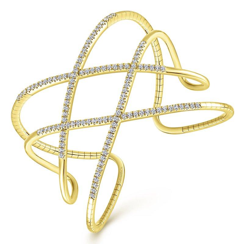 Signature Collection 14k Yellow Gold 2ctw Demure Diamond Bangle Bracelet by Gabriel NY