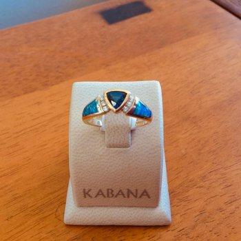 Kabana 14k Yellow Gold Australian Opal, Bezel Set Trillion Sapphire and Diamond Ring - #37571