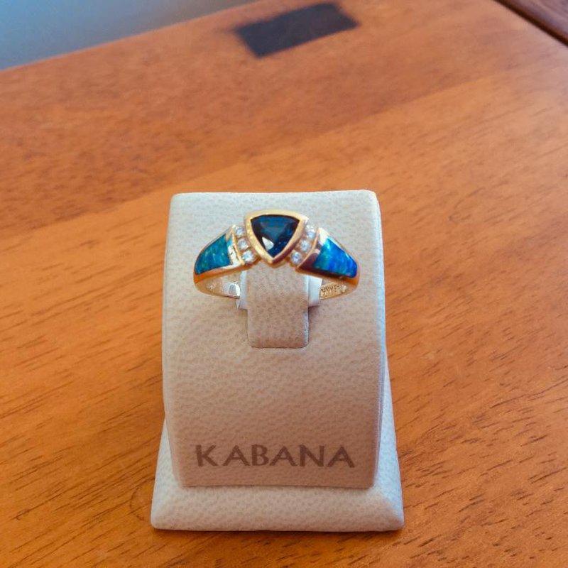 Kabana Jewelry Kabana 14k Yellow Gold Australian Opal, Bezel Set Trillion Sapphire and Diamond Ring - #37571