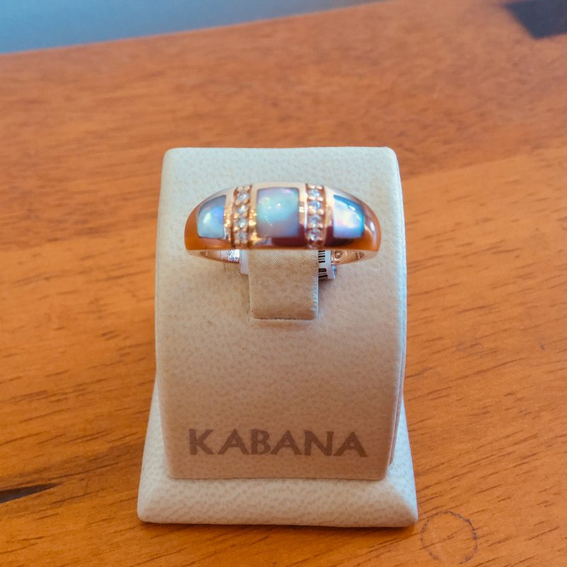 Kabana Jewelry Pink Mother of Pearl and Diamond Ring in 14k Rose Gold