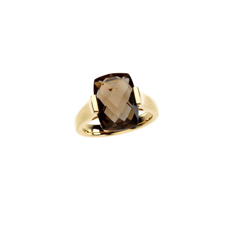 Signature Collection Genuine Checkerboard Smoky Quartz Ring