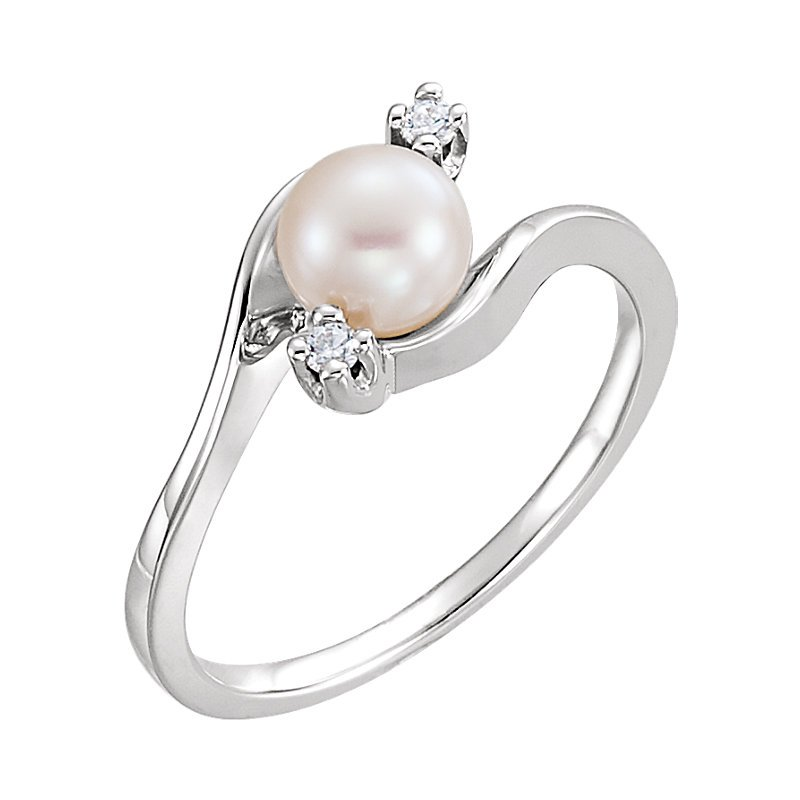 Signature Collection From the Pearl Collection 5.5mm White Akoya Pearl and Diamond Bypass Ring
