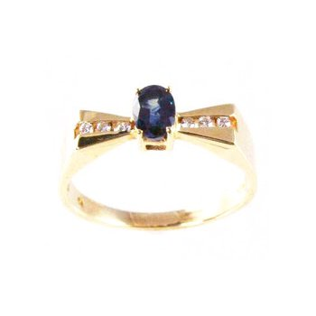 Genuine Blue Sapphire and Diamond Ring in 14k Yellow Gold - 4132