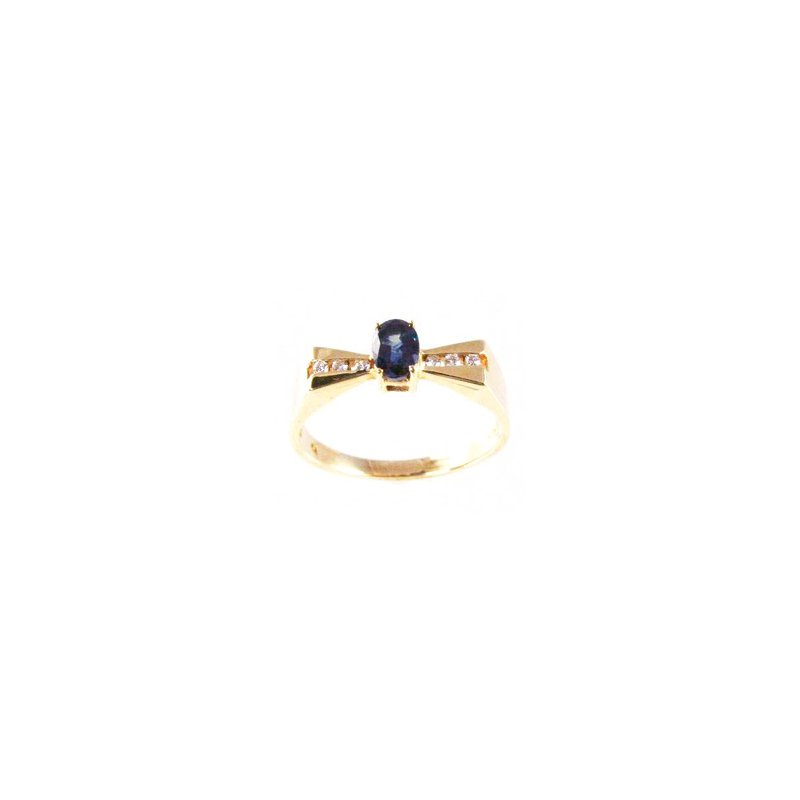 Signature Collection Genuine Blue Sapphire and Diamond Ring in 14k Yellow Gold - 4132