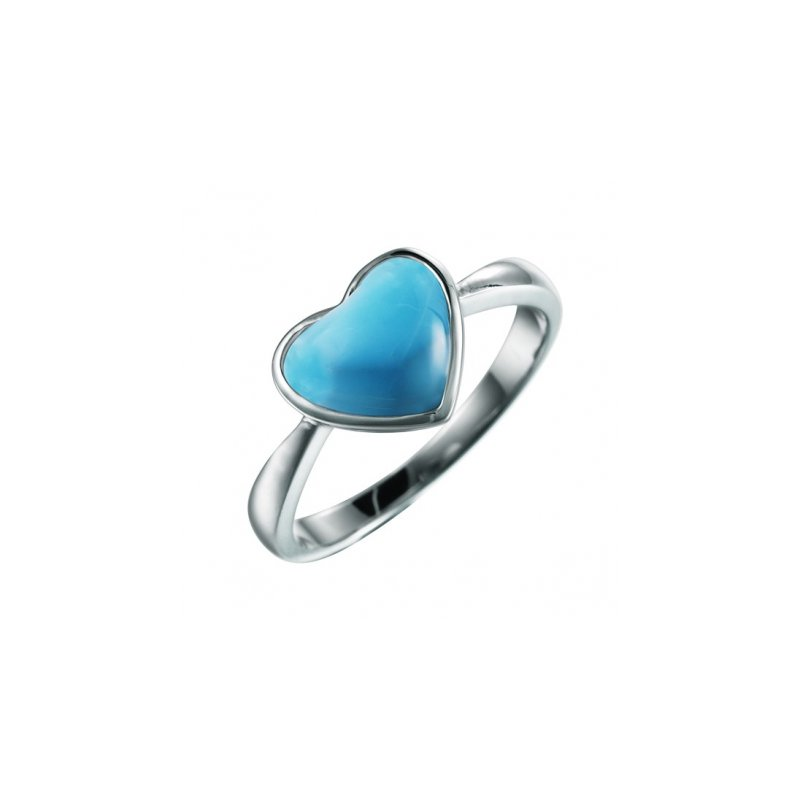 Alamea Larimar  Alamea Sterling Silver Heart Ring with Larimar
