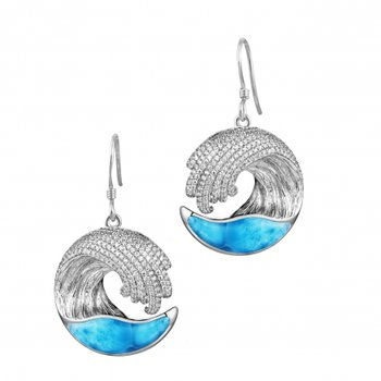 Alamea 14k White Gold Wave Earrings with Larimar and Diamonds