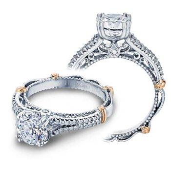 Verragio Parisian-111 - 14k White and Rose Gold Diamond Engagement Ring by Verragio
