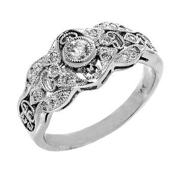 14k White Gold Vintage Inspired Diamond Ring