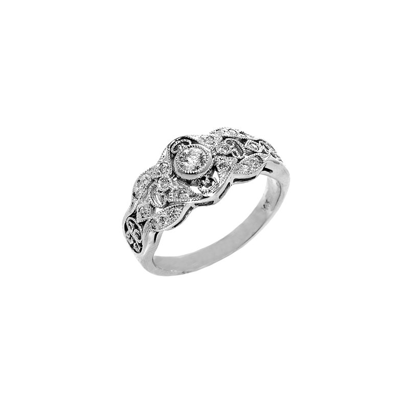 Signature Collection 14k White Gold Vintage Inspired Diamond Ring
